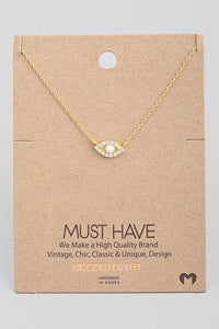 Studded evil eye necklace | Gold