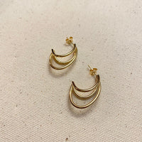 Triple Strand Earrings | Gold
