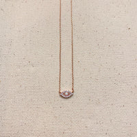 Studded Evil Eye Necklace | Rosegold