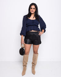 Noir Leather Shorts
