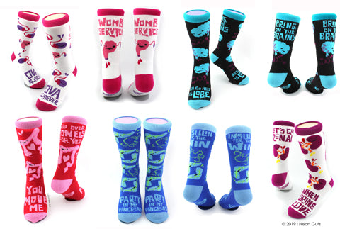Organ Socks - Uterus Socks - Brain Socks - Pancreas Socks - Kidney Socks - Colon Socks
