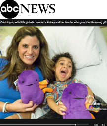 Catching up with little girl who needed a kidney and her teacher who gave the life-saving gift