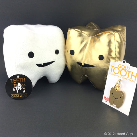 Tooth Plush - Cute Tooth - Gold Tooth Plush Toy - Happy Plush Tooth - Tooth Toy - Tooth Fairy Gift