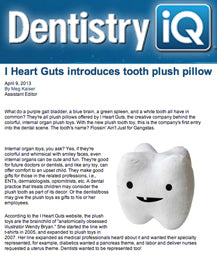 Dentistry IQ - I Heart Guts introduces tooth plush pillow