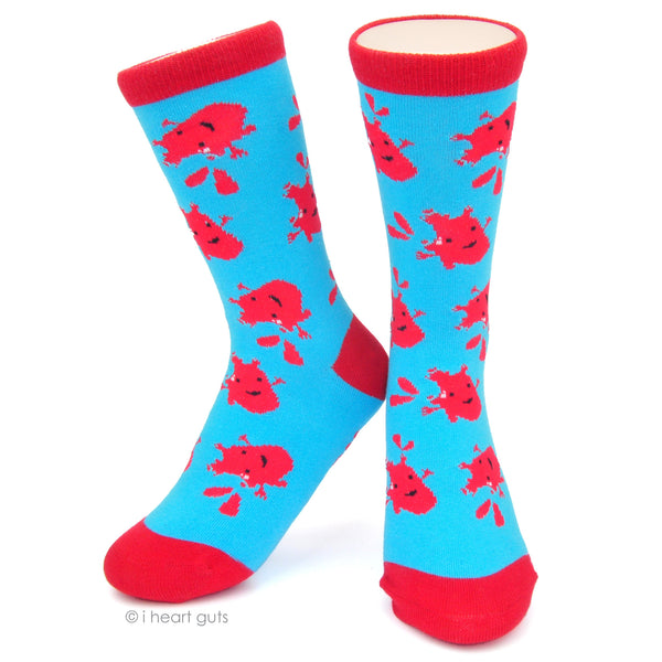 "*SALE* - WORDLESS ""I Heart You"" Text - Heart Socks - Red and Blue"