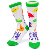 I Heart Your Guts Socks - Green Multicolor - Bladder Spleen Stomach Heart Kidney