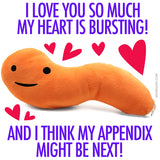 Appendix Plush - Feel It In Your Gut - Plush Organ Stuffed Toy Pillow