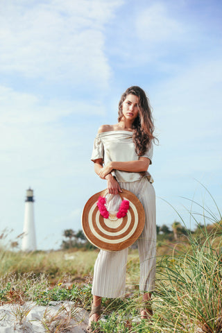 Zenu Round Straw Bag