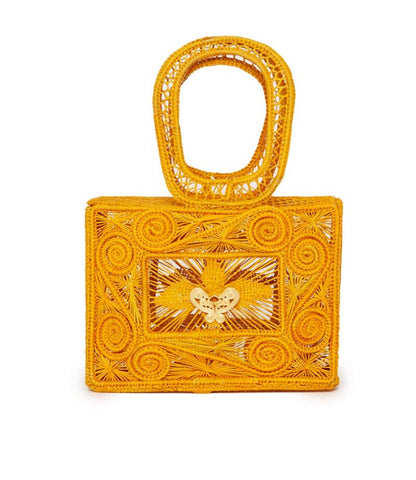 Mariposa Box Clutch in Yellow
