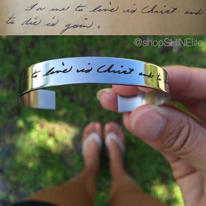 Custom Handwriting Cuff Bracelet