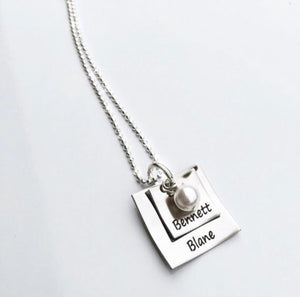 Personalized Stacked Square Necklace