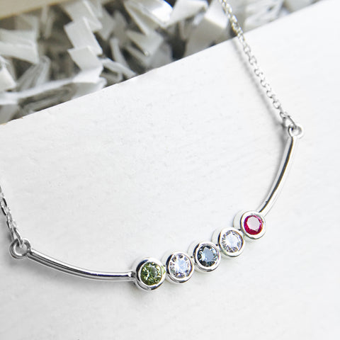 birthstone family bar necklace