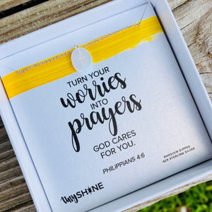 worries into prayers necklace