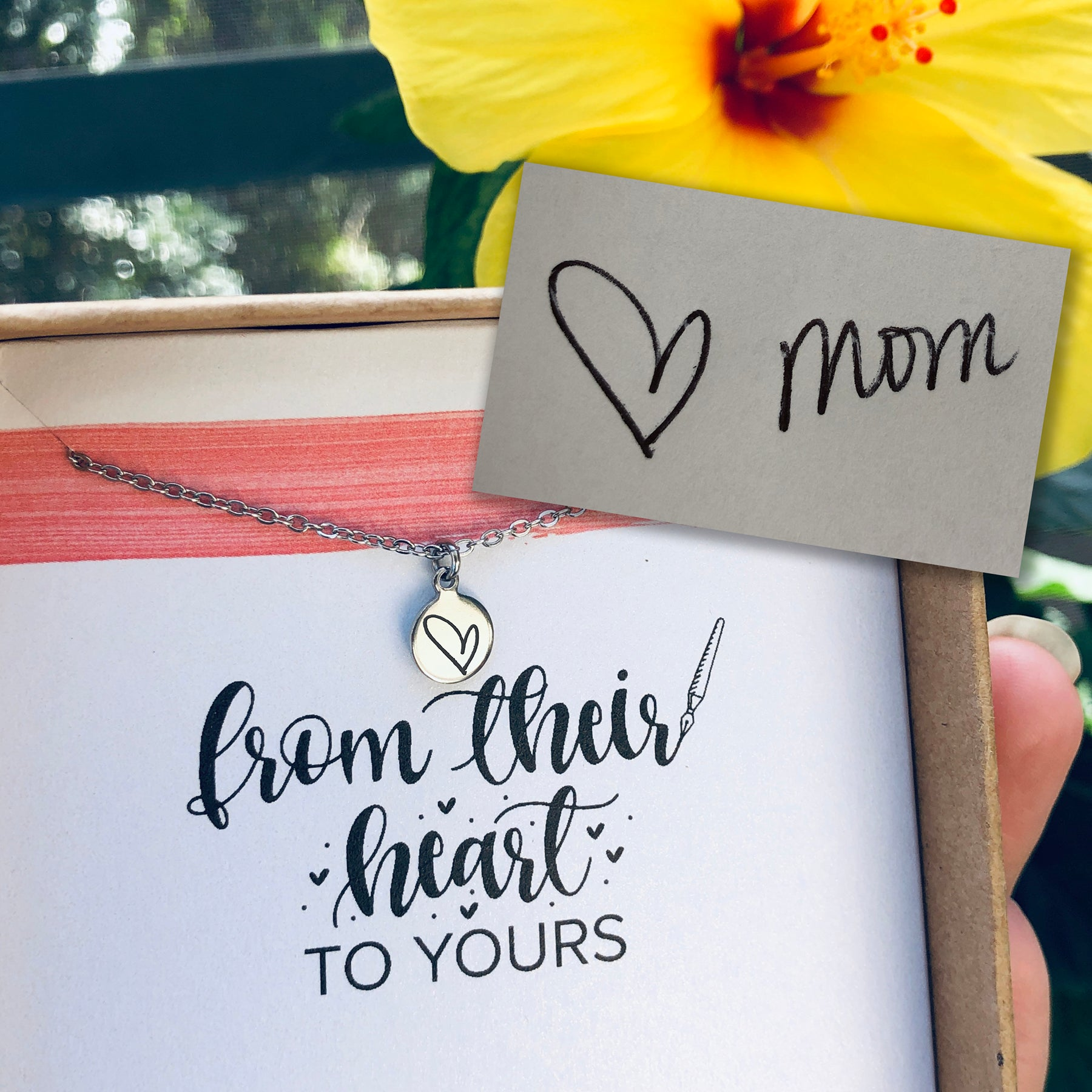 custom tiny handwriting necklace