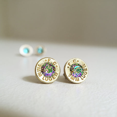 brass with paradise bullet earrings