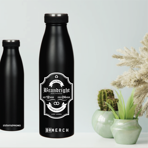 Brandright logo BR Merch 500ml Stainless Steel Sistema Bottle