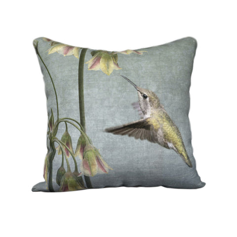 Anna's Hummingbird with Flowers — Bird Cushion Cover