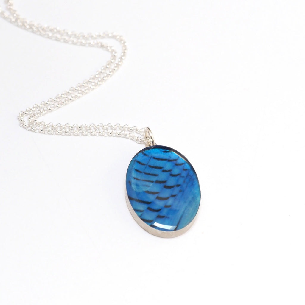 STELLER'S JAY FEATHERS - Oval Pendant, Silver and Resin Jewelry