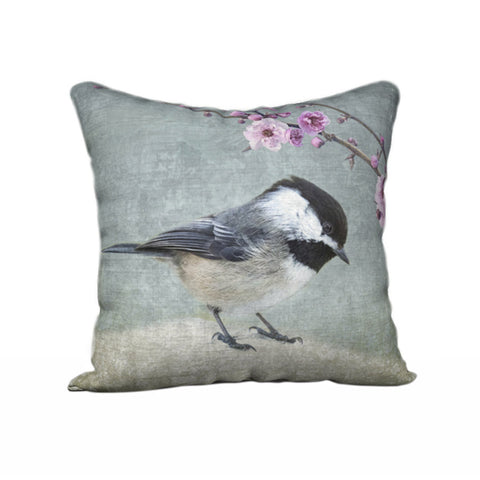 Chickadee with Cherry Blossom — Bird Cushion Cover