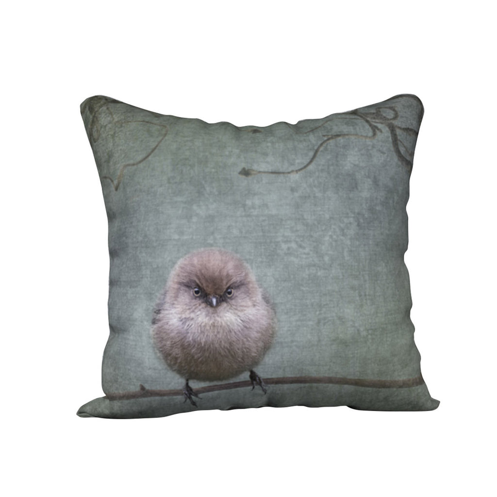 Small but Furious Bushtit — Bird Cushion Cover