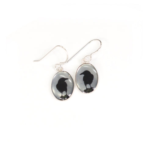CROW SHADOW - Oval Earrings, Silver and Resin