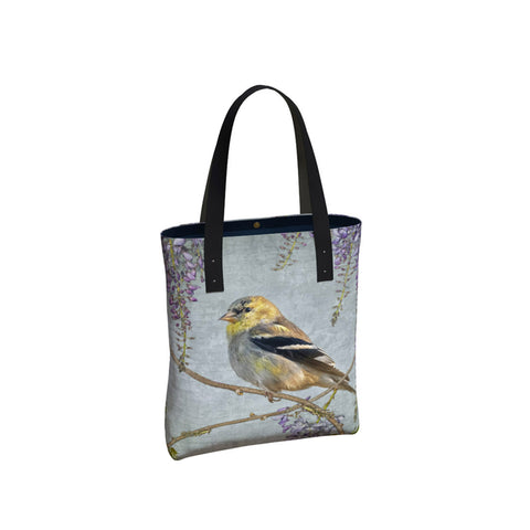 Goldfinch and Wisteria Tote Bag/Over-Sized Handbag