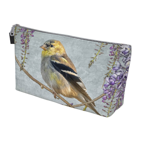Goldfinch and Wisteria Zippered Make Up Bag