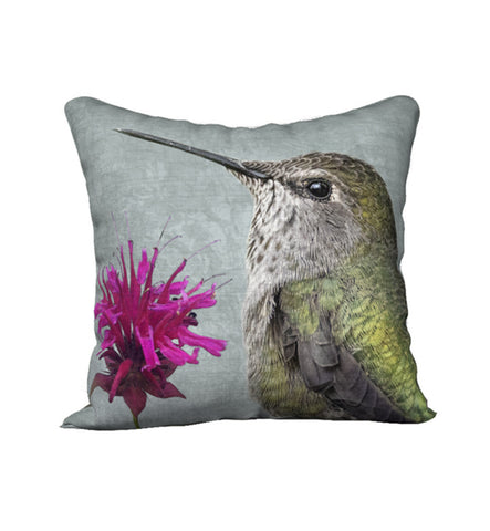 Hummingbird and Bee Balm — Bird Cushion Cover