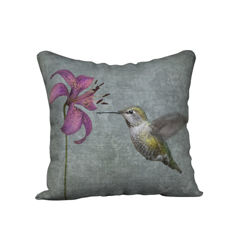 Hummingbird with Lily — Bird Cushion Cover