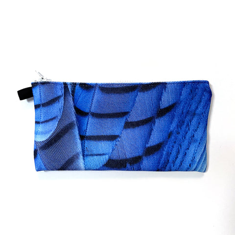 Blue Steller's Jay Feathers Pencil Case/Organizer
