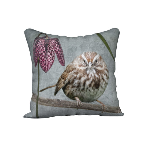 Judgmental Song Sparrow with Fritillaria — Bird Cushion Cover