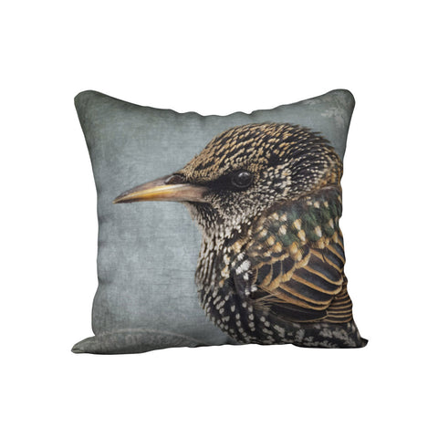 Starling Portrait — Bird Cushion Cover