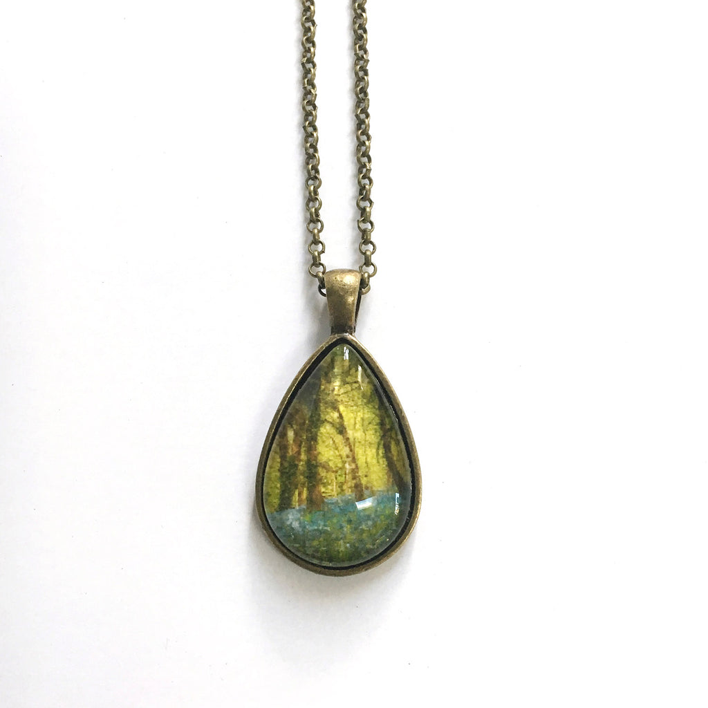 Bluebell Woods Teardrop-Shaped Glass Pendant