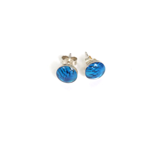 STELLER'S JAY FEATHERS - Tiny Round Stud Earrings, Silver and Resin