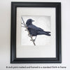 BRANCH CROW - Fine Art Print, Crow Portrait Series