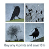 CROW MOON - Fine Art Print, Blue Crow Series