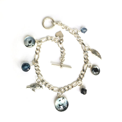 RAVENS AND CROWS  - Charm Bracelet, Nature Jewelry