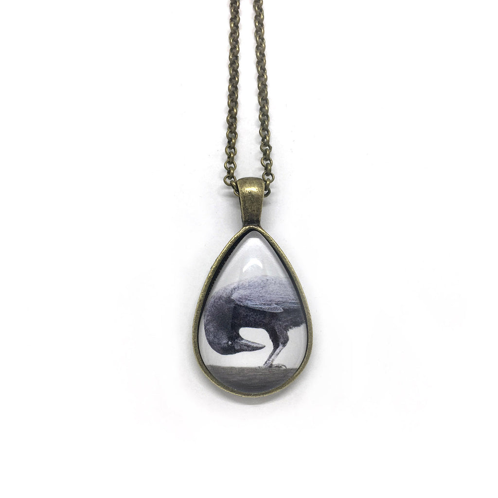 Downward Crow Teardrop-Shaped Glass Pendant