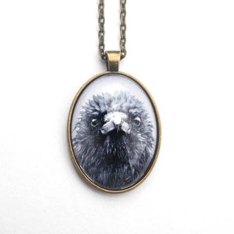 FRAZZLED CROW - Large Glass Pendant