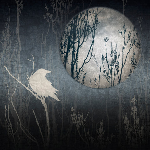 GHOST CROW & MOON - Fine Art Print, Blue Crow Series