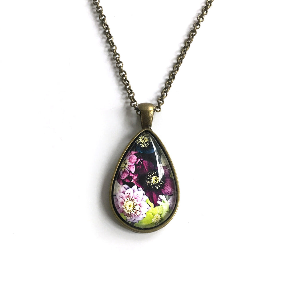 Carpet of Flowers Teardrop-Shaped Glass Pendant