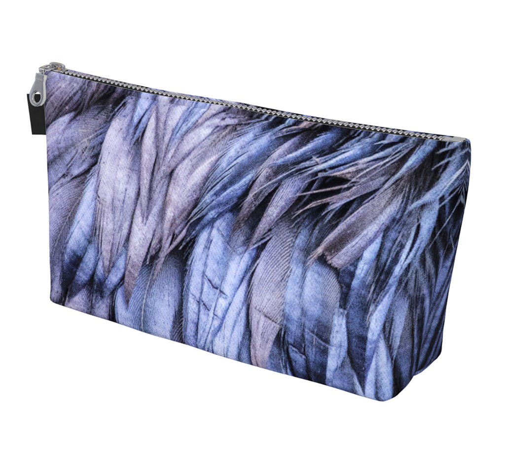 Raven Feathers Zippered Make Up Bag