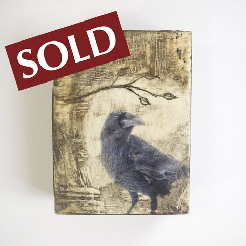 RAVEN TREE - One of a Kind Encaustic Panel