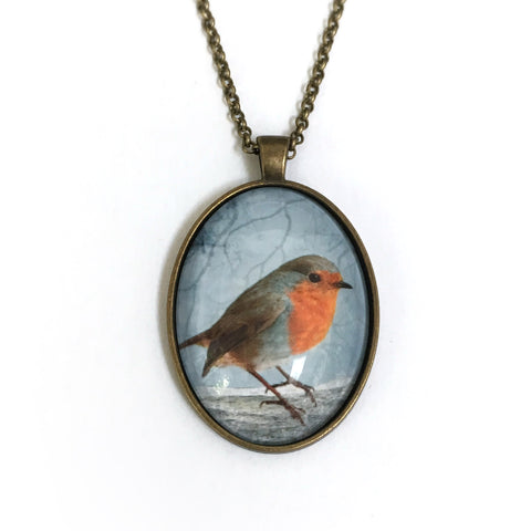 ENGLISH ROBIN - Large Glass Pendant