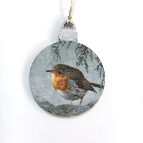 Robin Thinking of Home Round Holiday Ornament