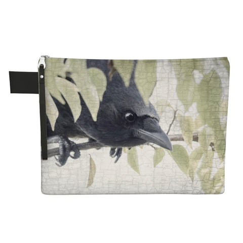 Secret Crow Zippered Carry-All With Wrist Strap