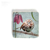 SONG SPARROW WITH FRITILLARIA - Small Marble Tile Coaster or Wall Art