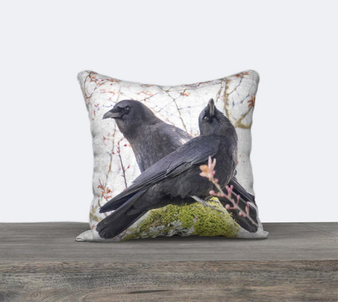 Spring Crow Couple Canvas Cushion Cover
