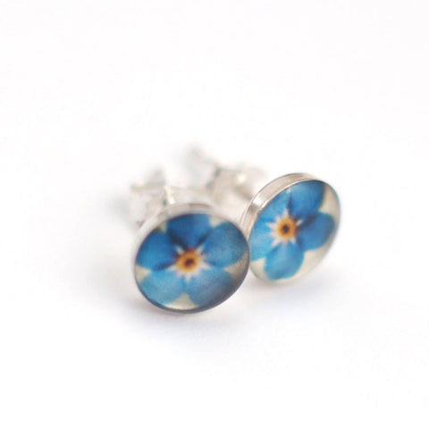 FORGET ME NOT - Stud Earrings, Nature Jewelry