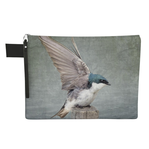 Sky Blue Tree Swallow Double Sided Zippered Carry-All with Wrist Strap - NEW SALE PRICE